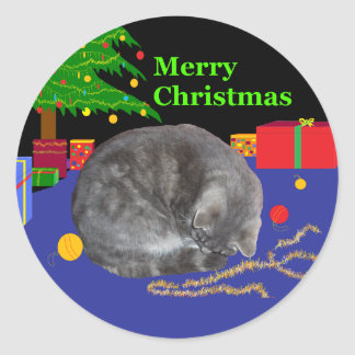 Sleepy cat Christmas-sticker Classic Round Sticker