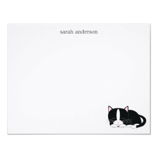 Sleepy Cat Flat Thank You Notes 4.25x5.5 Paper Invitation Card