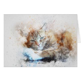 Sleepy Cat Girl | Abstract | Watercolor Card
