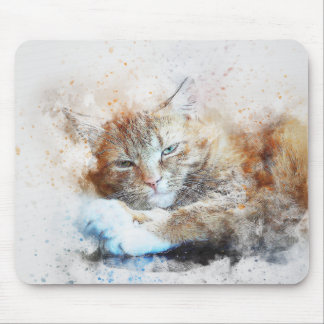 Sleepy Cat Girl | Abstract | Watercolor Mouse Pad