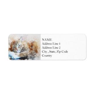 Sleepy Cat Girl | Abstract | Watercolor Return Address Label