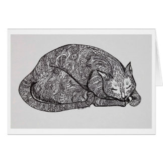 sleepy cat greeting card