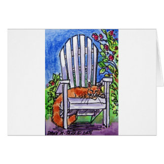 sleepy cat in chair greeting card