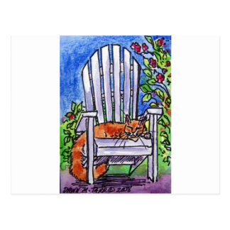 sleepy cat in chair post cards
