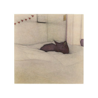 Sleepy Cat sketch Wood Canvas