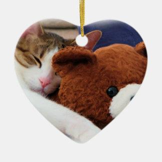 Sleepy Cat Teddy Bear Ceramic Heart Decoration