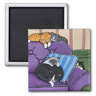 Sleepy Cats on Sofa Whimsical Magnet