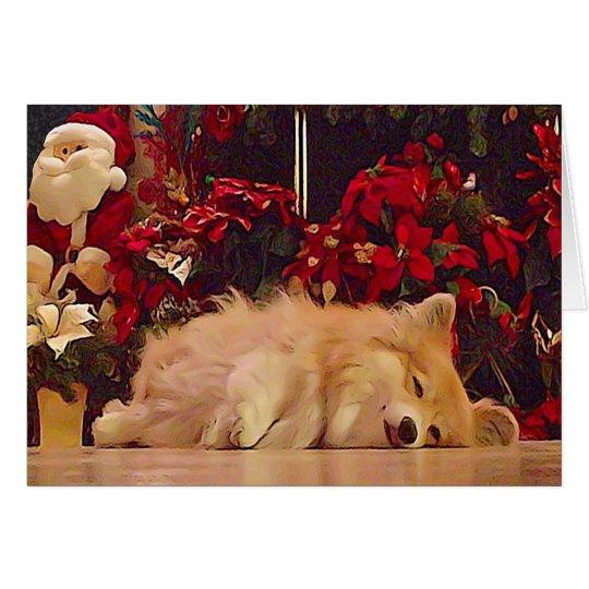 Sleepy Christmas Corgi Card