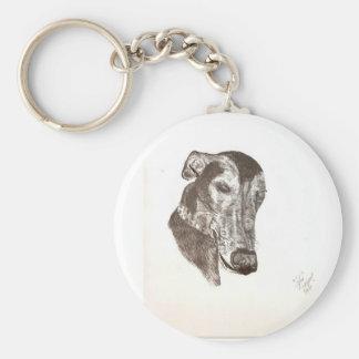 Sleepy Cofax-the greyhound sketch Key Ring