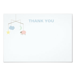 Sleepy Crib Mobile Baby Shower Thank You Card