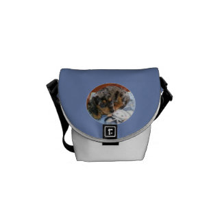 Sleepy Dapple Dachshund Messenger Bag