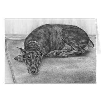 Sleepy Doberman Pinscher Dog Drawing by Kelli Swan Card