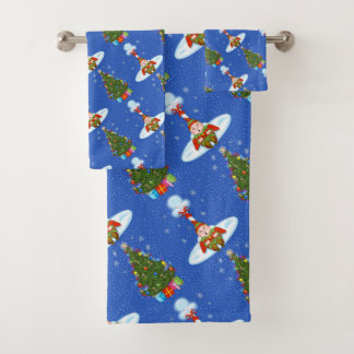 Sleepy Elf Christmas Bathroom Towel Set
