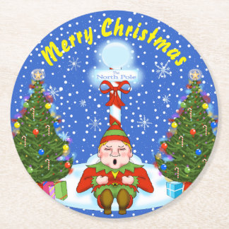 Sleepy Elf Christmas Coasters