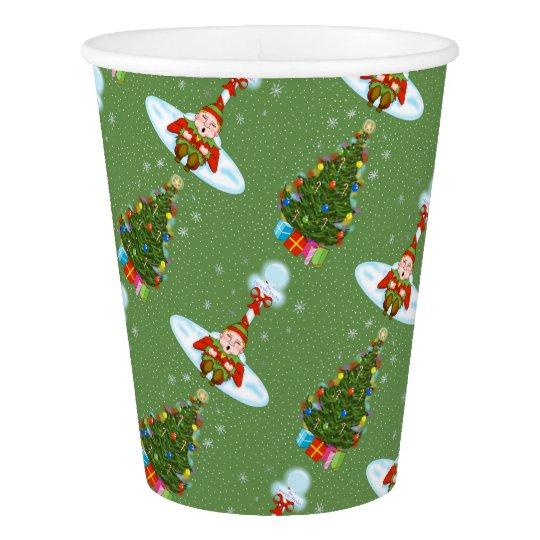 Sleepy Elf Christmas Paper Cups