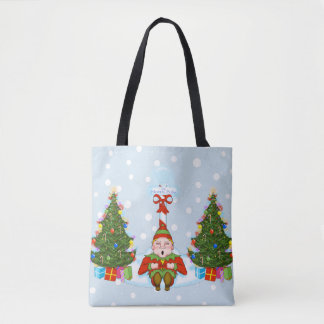 Sleepy Elf Under North Pole Holiday Tote Bag