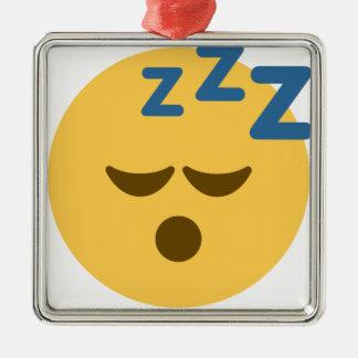 Sleepy Emoji Metal Ornament