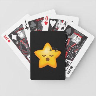 Sleepy Emoji Star Bicycle Playing Cards