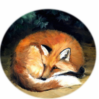 """Sleepy Fox"" Art Ornament Photo Sculpture Decoration"