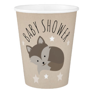 Sleepy Fox Desert Stars Baby Shower Paper Cup
