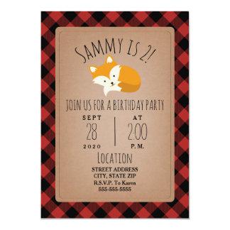 Sleepy Fox Lumberjack Plaid Birthday Party Card