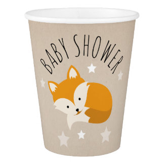 Sleepy Fox Stars Baby Shower Paper Cup