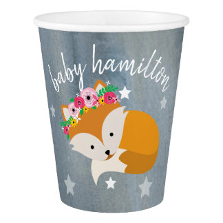 Sleepy Fox Stars Floral Watercolor Baby Shower Paper Cup
