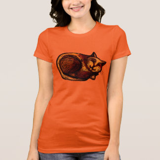 Sleepy Ginger Cat Women's Gold T-Shirt