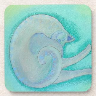 Sleepy Gray Cat. Coaster