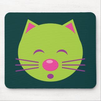 Sleepy Green Cat Mouse Pad