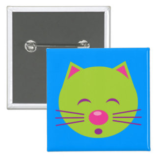 Sleepy Green Cat Pinback Buttons