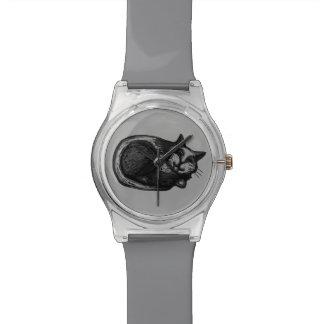Sleepy Grey Cat Wristwatch