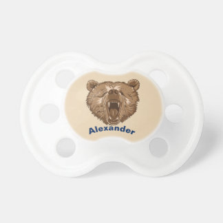Sleepy Grizzly Bear Personalized Baby Pacifier