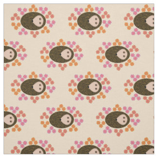 Sleepy Hedgehog and Flowers Craft Fabric