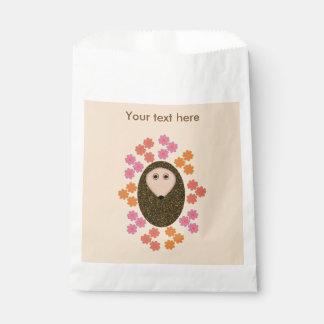 Sleepy Hedgehog and Flowers Custom Favor Bags