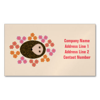 Sleepy Hedgehog and Flowers Custom Magnetic Business Card