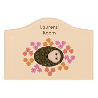 Sleepy Hedgehog and Flowers Custom Room Sign