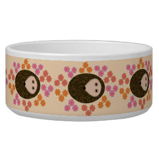 Sleepy Hedgehog and Flowers Dog Bowl