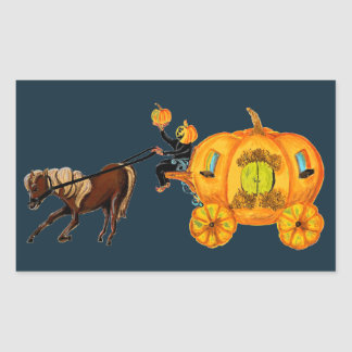 Sleepy Hollow Headless Horseman Pumpkin Carriage Rectangular Sticker