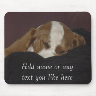 Sleepy hound pup mousepad