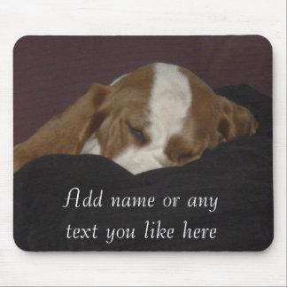 Sleepy hound pup mousepad