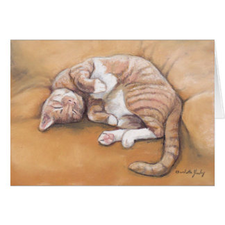 Sleepy Kitty Cat Art Note Card