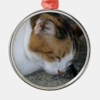Sleepy Kitty Metal Ornament