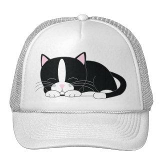 Sleepy Kitty Tuxedo Trucker Hat