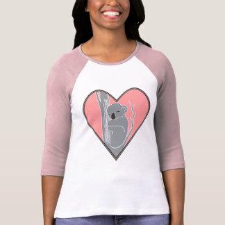 Sleepy Koala Pink Heart Women's Raglan T-Shirt