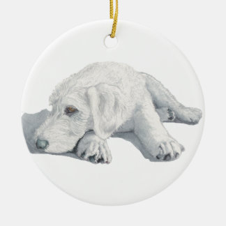 Sleepy Labradoodle Pup Ceramic Ornament