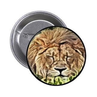 Sleepy lion painting 6 cm round badge