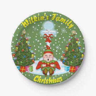 Sleepy Little Elf Christmas Paper Plates