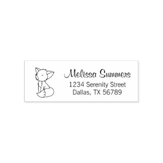 Sleepy Little Fox Address Self-inking Stamp