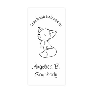 Sleepy Little Fox Bookplate Rubber Stamp